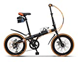 Bicicleta Plegable Adulto 20in Aluminio Bicicleta Unisex Folding Bike,Orange
