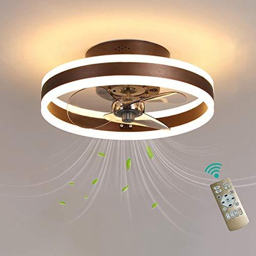 Ventilatore Da Soffitto Con Luce E Telecomando Reversibile 6 Velocita Camera LED Dimmerabile Lampada Ventilatore Soffitto Con Timer Moderno Silenzioso Ventilatore Da Soffitto Con Luce,Marrone,50cm