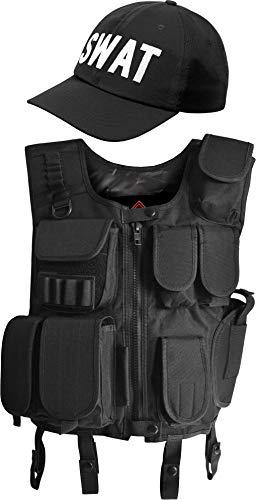 normani Taktische Einsatz Weste SWAT Patch mit Pistolenholster und SWAT Cap Tactical Vest Farbe Schwarz Größe L