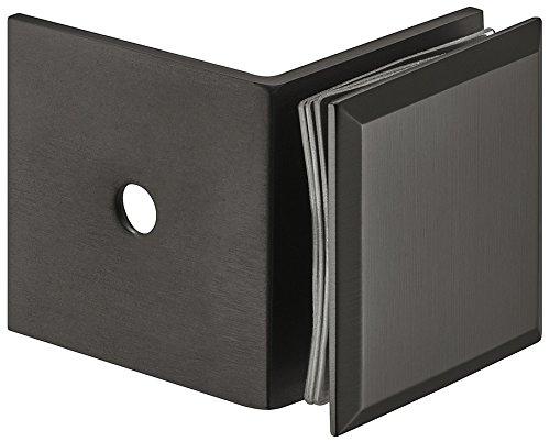 Gedotec Winkel-Glashalter für Duschen Glas-Klemmhalter für Wand-Montage | Punkthalter Messing PVD schwarz | Glasklemmen-Befestigung für 90° Glasfront | 1 Stück - Duschkabinen-Halter Glas-Verbindung