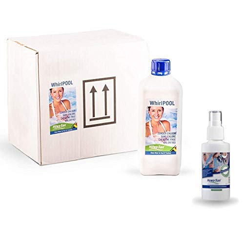 Huwa-San Whirlpool chlorfreie Wasserpflege und Desinfektionsmittel mit stabilisiertem Aktivsauerstoff (6 x 1L für 9m²) + Gratisflasche Travel