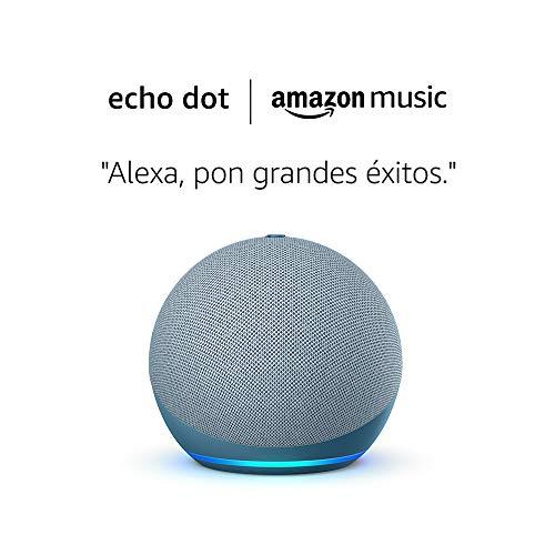 Amazon Echo Dot (4.ª generación) tela de color azul grisáceo + Amazon Music Unlimited (6 meses GRATIS con renovación automática)