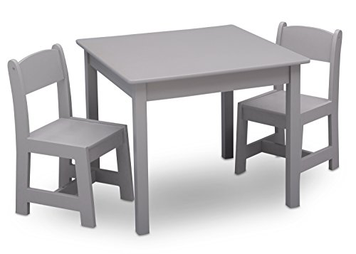 Delta Children MySize Kids Wood Table and Chair Set (2 Chairs Included) - Ideal for Arts & Crafts, Snack Time, Homeschooling, Homework & More, Grey
