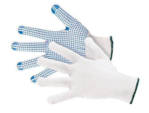 Jah 5070 Nylon-Strickhandschuh 12 Paar Noppen mittelschwer weiß Gr. 9