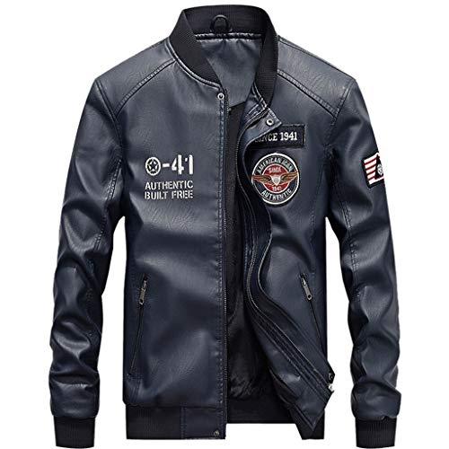 Männer Motorrad-Lederjacke Klassische Motorrad-Bomber Top Ledermantel Herren Outdoor Plus Size Trenchcoats,Blue-XXXL