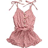 Rtnnsbbfcm Toddler Baby Girl Valentine's Day Romper Bodysuit Heart Print Sleeveless Strap Ruffle Jumpsuit Outfit (A Pink, 4-5T)