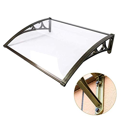 Patio Porch Awning Shelter Front Door Canopy Over Door Door Window Rain Cover Eaves Polycarbonate Cover Canopy Rain Awning Brown Board Black Holder (Color : A, Size : 60cmx120cm)