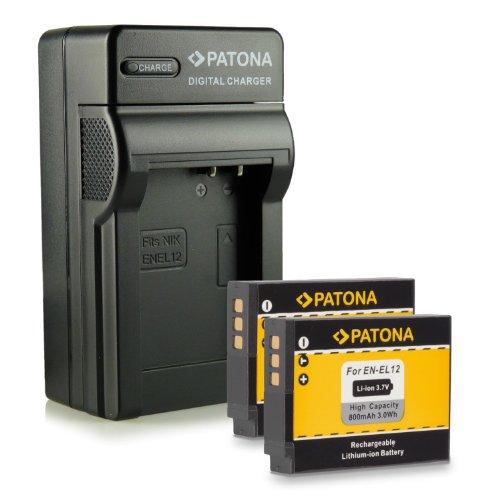 Bundle - 4in1 Caricabatteria + 2x Batteria EN-EL12 per Nikon CoolPix AW100 | AW110 | P300 | P310 | P330 | S31 | S70 | S710 | S610 | S610c | S620 | S630 | S640 | S800c | S1000pj | S6100 | S6300 | S6400 | S8000 | S8100 | S9100 | S9200 | S9300 | S9400 | S9500