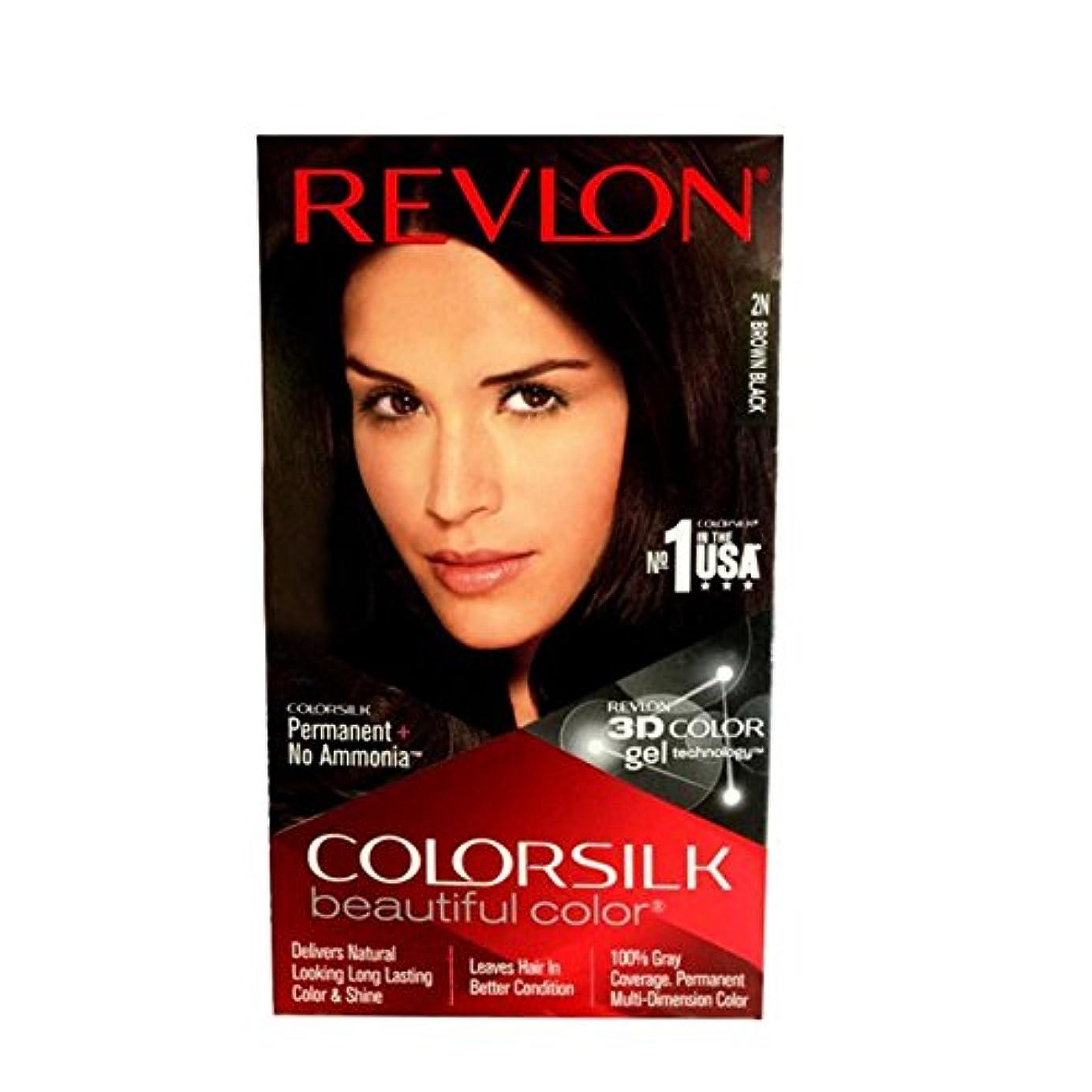 安定協定殺すRevlon Colorsilk Hair Color with 3D Color Gel Technology 2N Brown Black