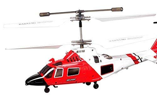 SYMA S111G - Helicóptero Teledirigido Guarda Costas Rescate 3.5 Canales. Gyro 22cm Aprender, Muy Resistente y Fácil de Volar | Helicoptero Radiocontrol RC con Giroscopio, Rojo y Blanco
