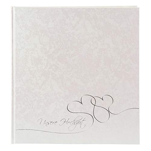 goldbuch 08004 Hochzeitsalbum Cuore, Album für Fotos & Bilder, 30 x 31 cm, Fotoalbum mit 60 weiße & 4 Seiten Textvorspann, Pergamin Trennblättern, Beschichtetes Papier, Perlmutt und Silberprägung
