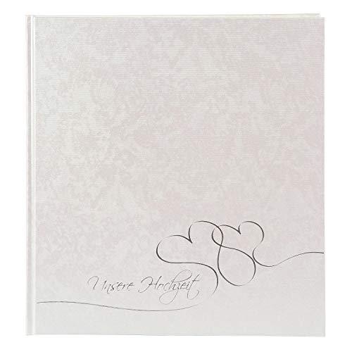 goldbuch Hochzeitsalbum, Cuore, 30 x 31 cm, 60 weiße 4 Seiten Textvorspann, Pergamin-Trennblättern, Beschichtetes Papier, 08004, Perlmutt/Silberprägung, 30x31 cm