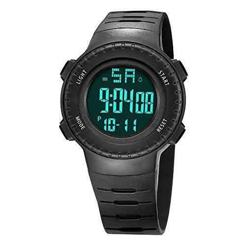 READ Reloj Digital Deportivos, Digital Pantalla de Tiempo Alarma Cronómetro Datos de 7 días con luz Negra LED para Caminar y Correr