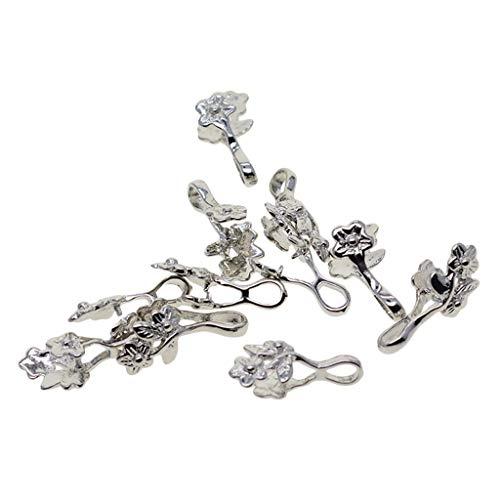 LOVIVER 12 Piezas de Flores de Latón Colgante de Fianzas Broches de Clip de Bricolaje Fabricación de Joyas de Collar