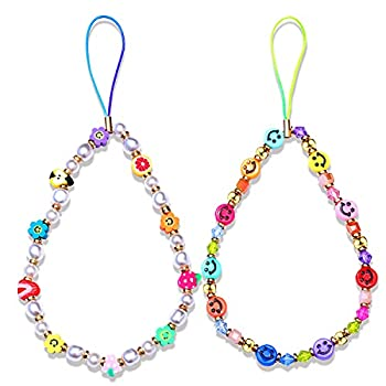 Phone Charm Lanyard Cute Handmade Colorful Beaded Cellphone Wrist Strap Kawaii Candy Fruit Pearl Smiley Face Beads Mobile Phone Camera Chain Hook for Women Girls
