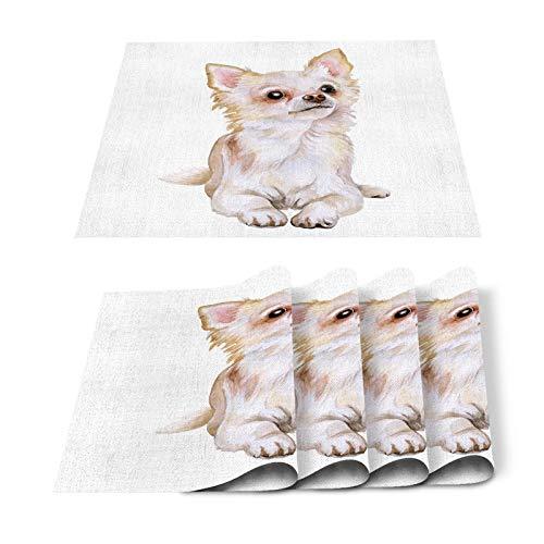 Juego de 6 manteles individuales, diseño de perro, bonito y divertido, minimalista, para pintura de acuarela, resistente al calor, lavable, plegable