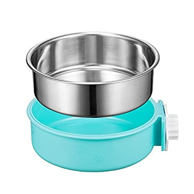 Cage Dog Bowl, Removable Stainless Steel Pet Bowl Hanging Crate Coop Cup Large Water Food Feeder for Dogs Cats Rabbits ,Birds-Blue