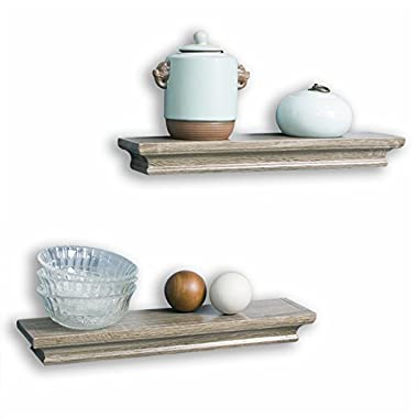 AHDECOR Floating Shelves Ledge Shelf Grey Wash (4 Inches Deep, Set of 2pcs)