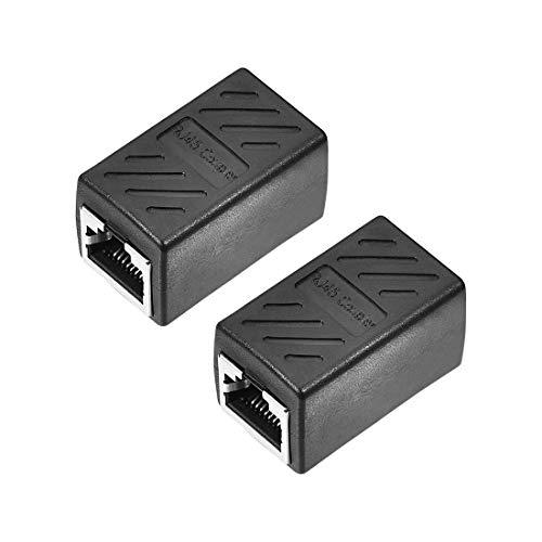 DyniLao RJ45 acoplador conector en línea Cat7 Cat6 Cat5e adaptador extensor de cable Ethernet hembra a hembra 36x43x20mm 2 uds