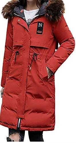 Womens Down Jacket Plus Size Faux Fur Hood Thickening Reversible Zip Up Overcoat Long Sleeve Pocket Long Coats