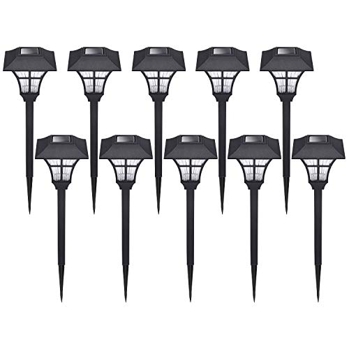 HECARIM Solar Lights Outdoor, 10 Pack Solar Pathway Lights, Solar Powered Garden Lights, Waterproof LED Solar Landscape Lights for Walkway, Pathway, Lawn, Yard and Driveway…