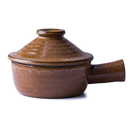 Arcilla cazuela olla de barro Crisol de guisado   300ML de la vendimia de cerámica de la manija de la cazuela lateral utensilios de cocina guisado de carne harina de avena olla de cocción del arroz De