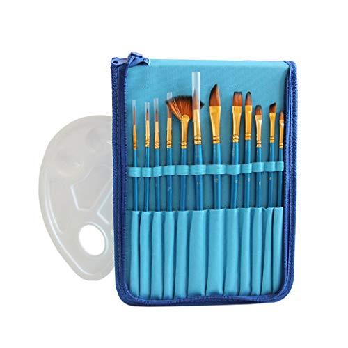 N/A 12pcs Nylon Pinte Pinceles Pen Professional Aceite Acuarela Pincel de Acuarela Conjunto con Paleta de Colores y Caja de lápices para Suministro de Escuela (Color : Blue)