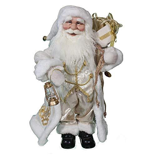 Joy Christmas Babbo Natale Bianco con Musica 55 cm con Lanterna e Sacco Doni