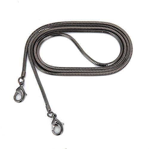 Cadena fina cuadrada de cobre de 3,2 mm de ancho, para bolso de mano