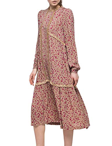 Replay Damen W9534 .000.71838 Kleid, Mehrfarbig (Rose/Fuxia/Violet 10), Large (Herstellergröße: L)