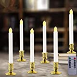 VVSISMUM 6 Set-LED Window Candles with Timer, Battery Operated Flameless Taper Candles with Flickering Warm White Light, Flameless Fake Candles with Holders for Home Fireplace Christmas or Halloween