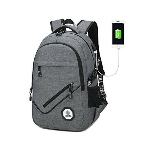 TTD Mochila portátil de Negocios con Puerto de Carga USB, Bolso de Escuela de la Mochila de la Universidad del Cuaderno-Gris