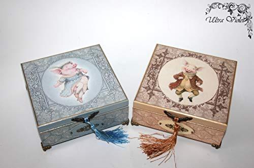2St. Exklusive Schatulle Französische Bulldogge, Box, schachteln, wood, für schmuck,Holzkästchen, Jewelry Box, Kästchen, Handarbeit, french bulldog, Mops