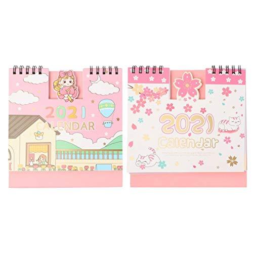 ABOOFAN 2021 - Calendario pequeño para niña, gato, diseño animado, escritorio de pie, calendario, anual, bobina de espiral, calendario, planificador para oficina, clase casa