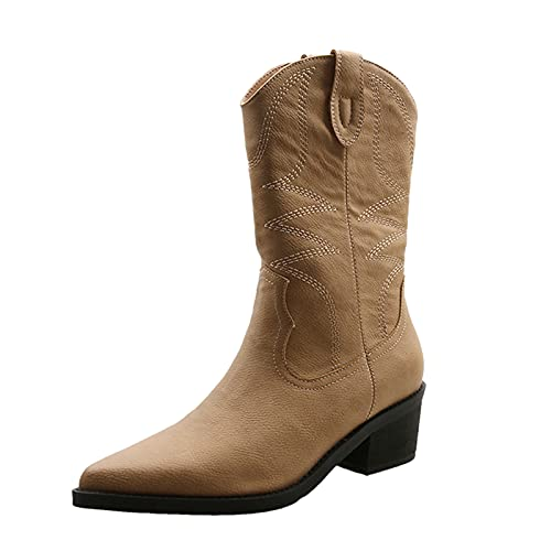 Autumn Winter Boots for Women Large Size Embroidered Pointed Toe High Boots Square Heel Casual Breathable Long Boots Brown