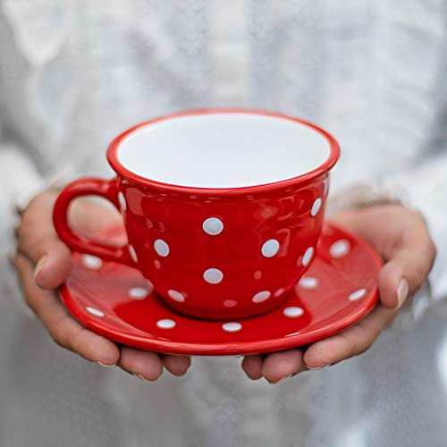 City to Cottage® - Keramik Kaffebecher Teetasse 350 ml | Rot und Weiß | Polka Dots | Handgemacht | Kaffeetasse mit Untertasse | Cappuccino Tasse