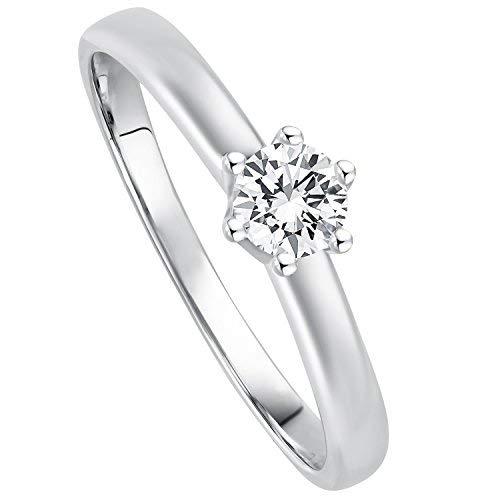 Juwelier Gelber Diamant Ring aus 585 14 Kt Weißgold mit Filigrane Fassung Brillant Schliff Lupenrein (52 (16.6), 0.20)