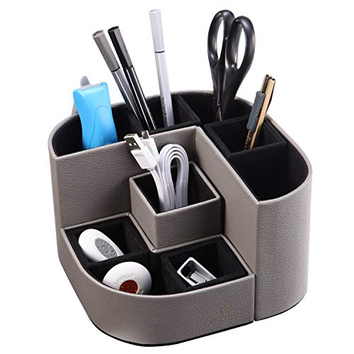 VPACK 磁力付 PUレザー-グレー デスクオーガナイザー 小物入れ ペン立て 卓上収納 机上用-グレー