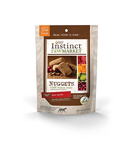 Instinct Freeze Dried Raw Market Nuggets Grain Free Beef Recipe Natural Dog Food by Nature's Variety, 2 oz. Trial Size Bag