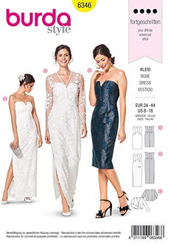 Burda Schnittmuster 6346, Kleid und Bolero [Damen, Gr. 34-44] zum selber nähen, ideal für Profis [L4]