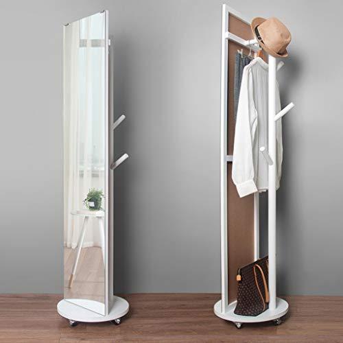 Lfixhssf eenvoudige massief houten kledingrek draaibare kledingstandaard met spiegel woonkamer slaapkamer foyer hanger Lfixhssf wit