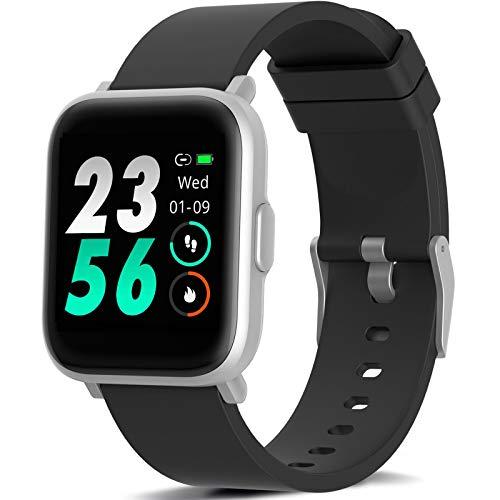 MorePro Smart Watch 18 Sport Modes Activity Tracker Heart Rate Fitness Watch Blood Oxygen Monitor Sleep Tracker Calories Pedometer Waterproof Smart Band Sports Bracelet for Men Women Silver Frame
