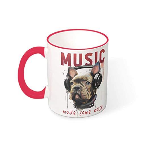 COMBON Shop Taza de café con diseño de perro y música hacer algo de ruido tazas con mango de cerámica humor taza - Navidad rojo 1 330 ml