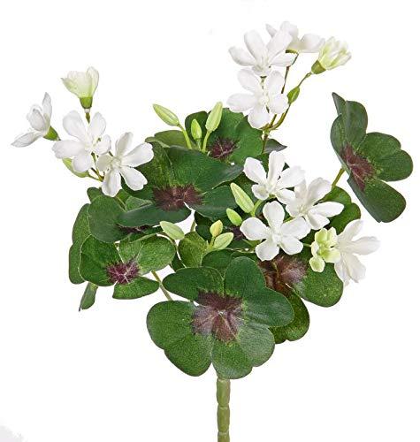 artplants.de Set de 3 x Trébol Artificial KARTIKA con Vara de fijación, 14 Flores, Blanco, 20cm - Pack de tréboles - Tres tréboles con Flores