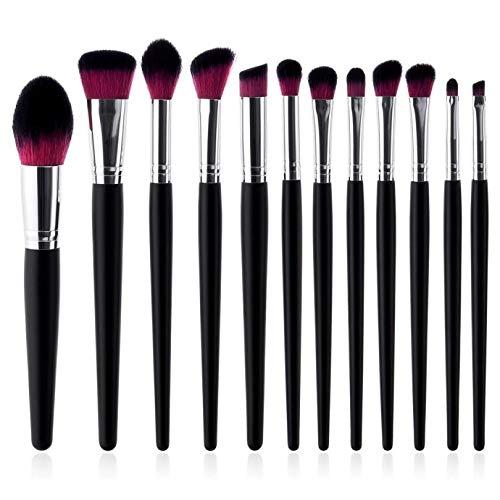 MEIYY Pinceau de maquillage 12 Cosmetis Makeup Brushes Set Foundation Powder Eyeshadow Eye Brushes Black Make Up Kits Tool Synthetic Hair