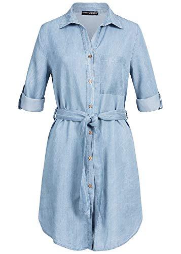 Styleboom Fashion® Damen Kleid Turn-Up Denim Dress Belt Sommerkleid Freizeitkleid Jeanskleid hell blau Denim, Gr:XXL