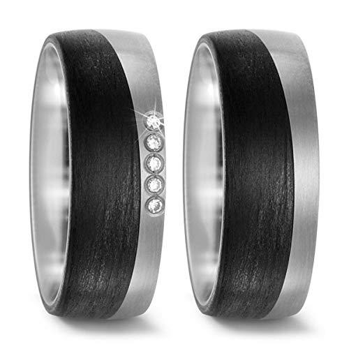 Titanfactory 52469 - Alianzas de titanio con 5 cristales de