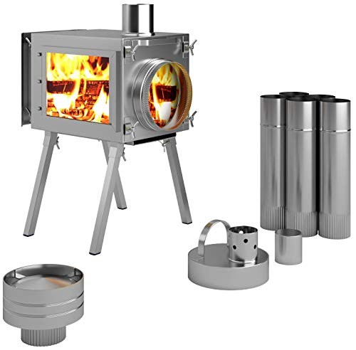 Russian-Bear Camping Stoves for Tents, Shelters, Yurts. Portable Wood Burning Folding Stove for Camp, Cooking Outdoor. Compact Folding Pipes Chimney. Size: (Small, Medium, Large). (Stove Caminus S')