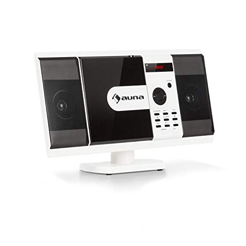 auna MCD-82 BT Vertikal-Stereoanlage - Micro-System im Slim Design, DVD-Laufwerk: DVD, DIVX, MPEG4, CD-R, CD-RW, MP3, Bluetooth, USB, SD, UKW, HDMI-Video-Ausgang, Fernbedienung, weiß