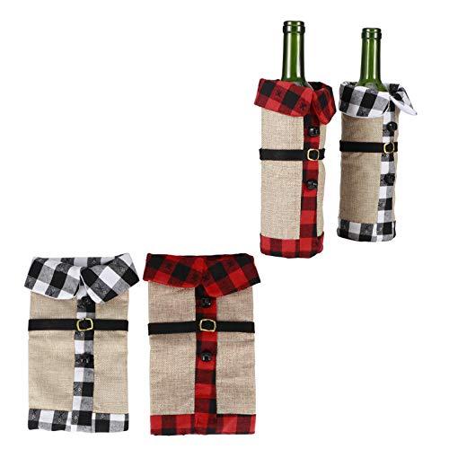2 piezas de tela navideña cubierta de botella de vino suéter decorativo para vasos soporte para botella de vino para decoraciones de fiesta de Navidad ornamento rústico cena de boda(A)